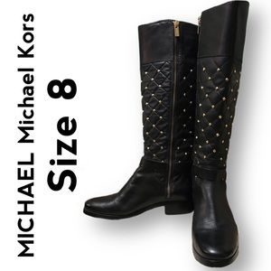 Michael Kors quilted leather boots with gold studs